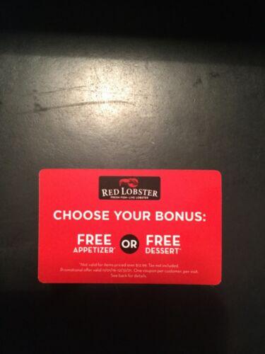 5 Red Lobster Free Appetizer or Dessert Gift Cards $64.95 Value 12/31/21 EXP