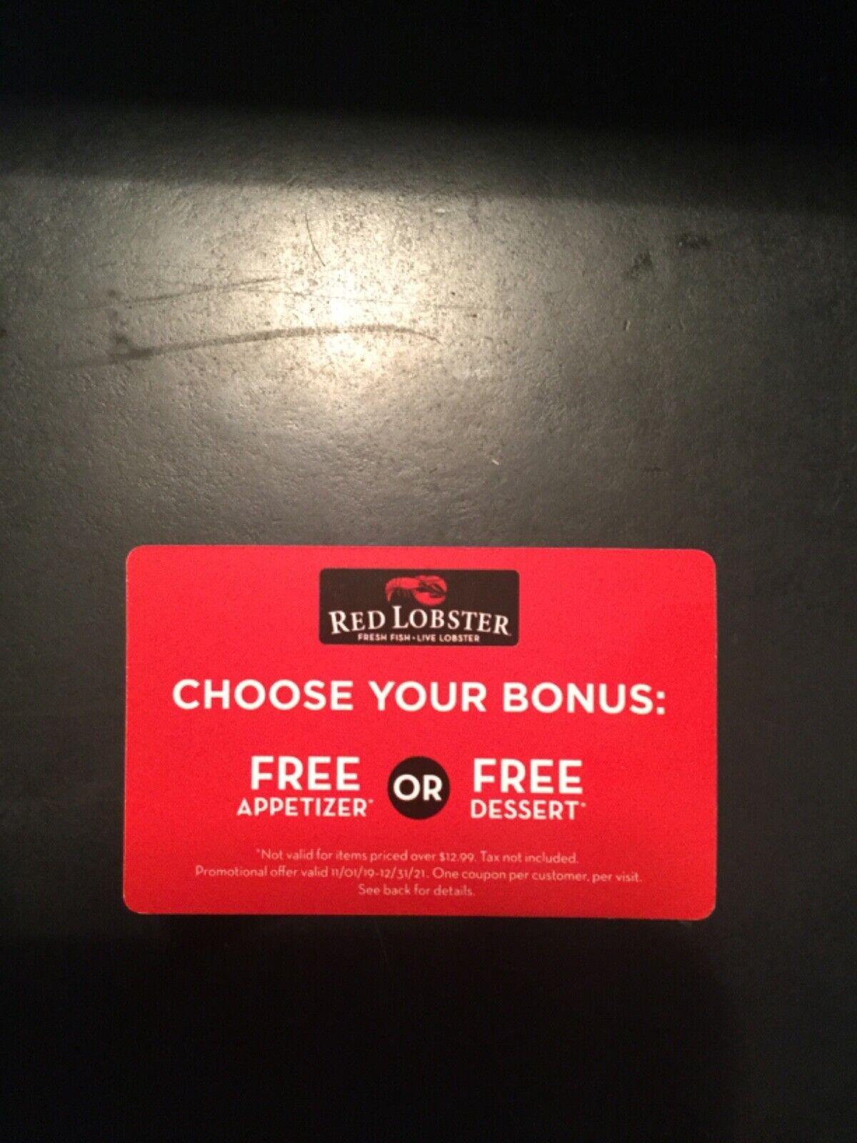 5 Red Lobster Free Appetizer Or Dessert Gift Cards 64.95 Value 12/31/21 EXP - $27.99