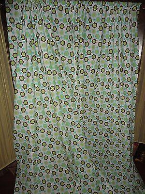 Fingerhut Teal Aqua Green Brown Retro Floral  Pair  Panels 41 X 81 Girls