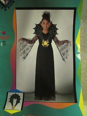 Disguise Girls Halloween Costume Spiderella Black Web Dress Size 7 8 9 10  - Spiderella Halloween Costume