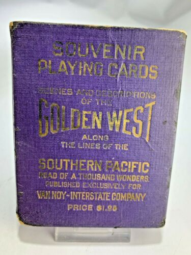 Antique Southern Pacific Road Golden West Souvenir Photos Deck Playing Cards