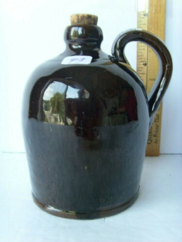 """Antique New England type Redware Pottery Jug 5"""" tall & 3½"""" ~1830-1860 55/43"""