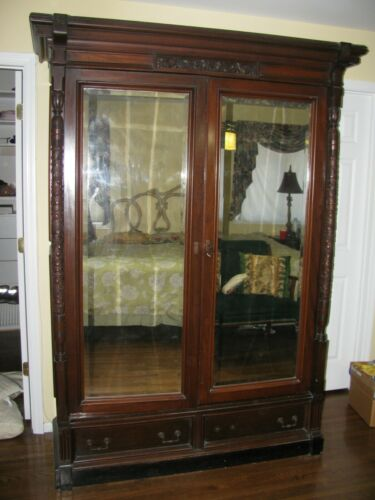 ANTIQUE FINE ESTATE MAHOGANY DOUBLE MIRRORED DOOR ARMOIRE CLOSET CARVED WOOD