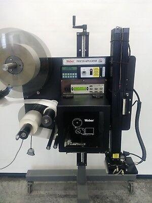 Weber 5200 5200v2 Zebra 170pax3 Label Printer Applicator W Tamp Blow Stand