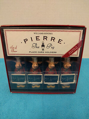 NEW WILLIAMS SONOMA PIERRE THE PIG SET OF 4 PLACE CARD HOLDER WITH - The Place Card