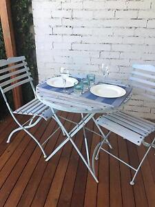 French Style 3 piece Outdoor setting.  Solid wood & Metal Lilyfield Leichhardt Area Preview