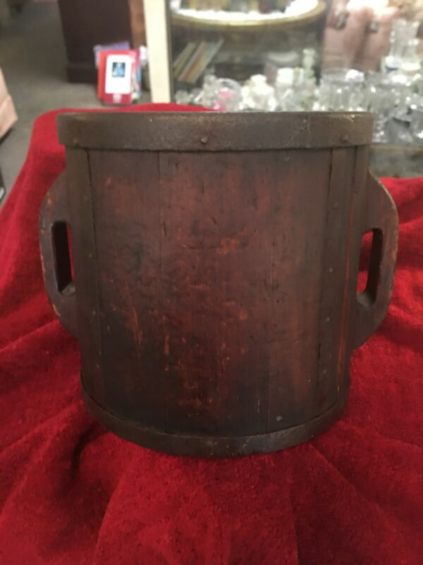 Antique Chinese Large Rice Bucket- Government Inscribed & Marked- Wood & Iron
