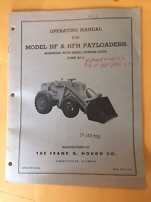 Hough Model Hf Hfh Payloaders Operators Manual Wheel Loader Book Instruction