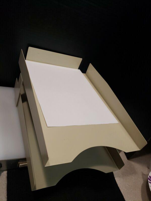 Vintage Metal 2 Tier Paper Desk Tray Stack Mid Century Industrial Organizer