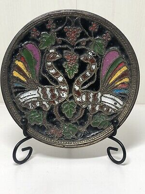 Antique Russian Enamelled Champleve Plate Wall Hanging Depicting Peacocks