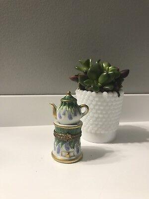 Handpainted Limoges Teapot Trinket Box Signed France  Rochard Peint Main Antique