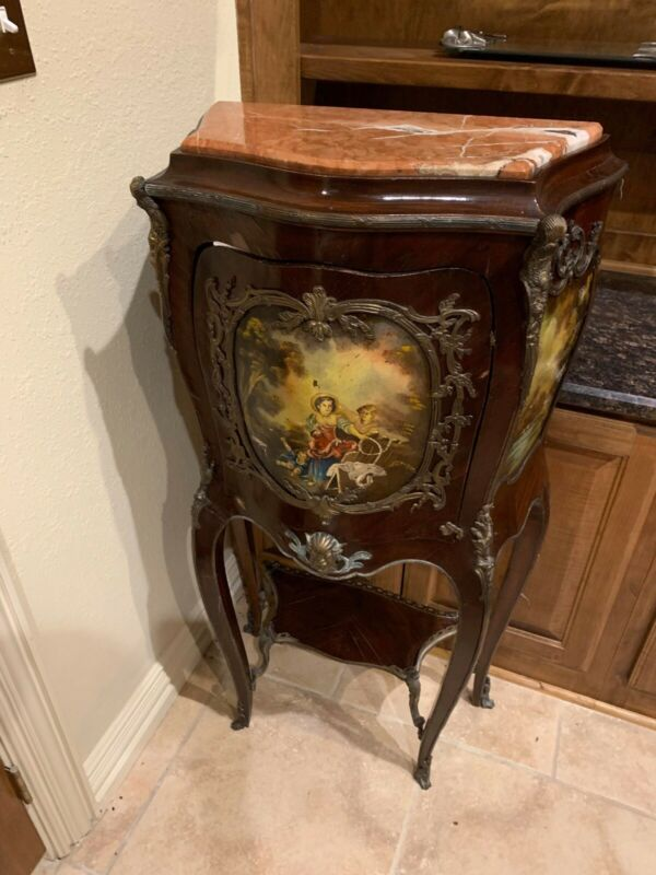 Antique French Commode Hand Painted Image With Marble Top