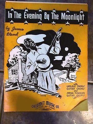 1937 IN THE EVENING BY THE MOONLIGHT James Bland SHEET MUSIC