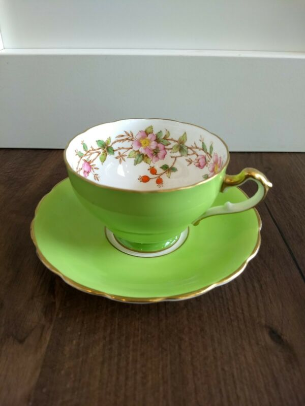Vintage Adderley Bone China Tea Cup And Saucer Green Pink Wild Rose Hips