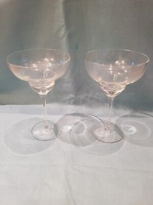 Set of 2 Matching Fine Glass Tiered Cocktail Glasses-19cm Tall/12.5cm Diameter