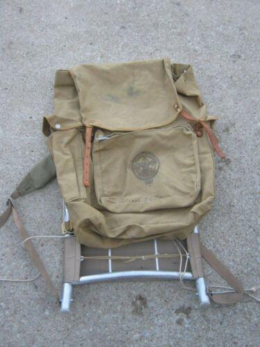 Original  Old Vintage Green Olive Boy Scouts America 1307 D  Backpack  Aluminum