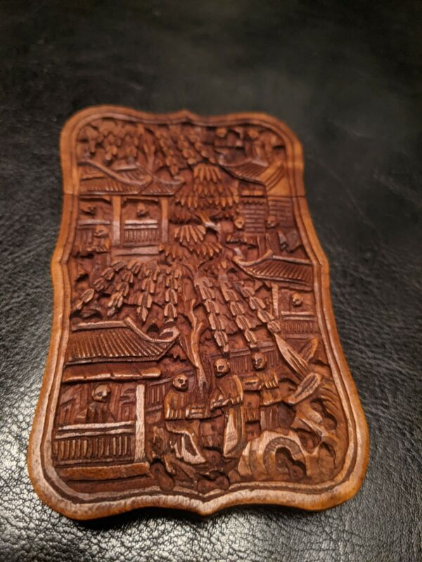 STUNNING 19th Century Victorian Chinese Deep Carved Wood Calling Card Case!