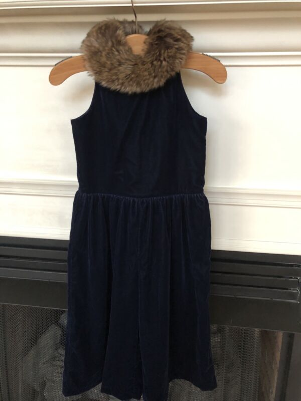 Janie And Jack Blue Velvet Jumpsuit sz 4 Fur Collar Holiday Special Occasion