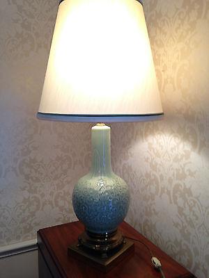 Raised Floral Porcelain - Vintage Porcelain Jade-colored Lamp with Raised Floral  Pattern - JUST REDUCED!!