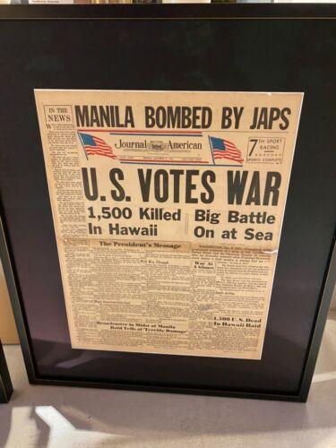 original Pearl Harbor journal of America news paper  dec 8th 1941