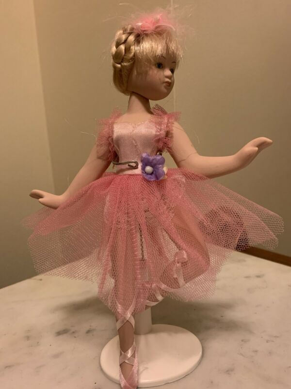 Porcelain Ballerina Doll with Stand