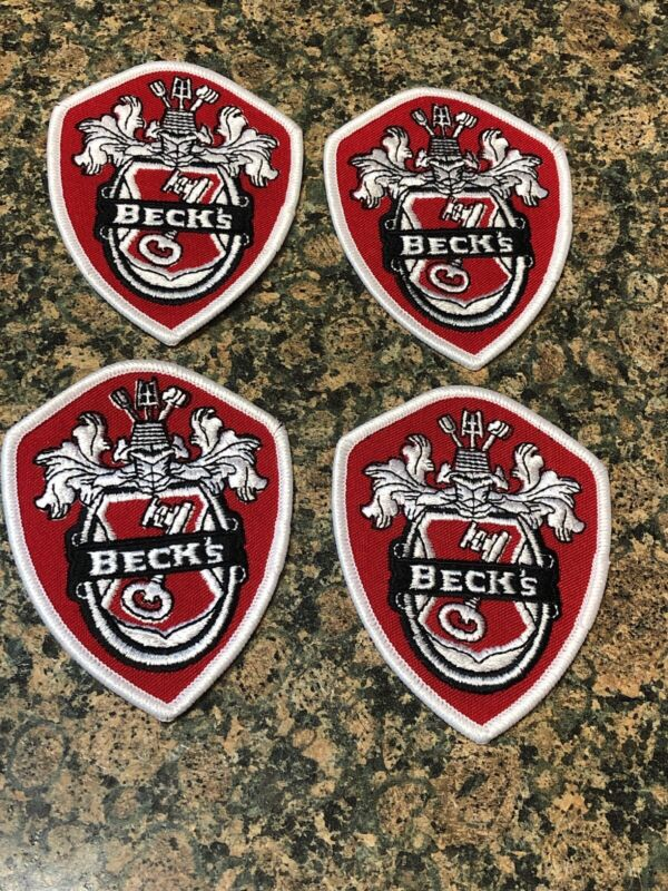 4- vintage Becks Beer  Red/black Sew/On patch. Limited Quantity