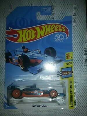 2018 hot wheels super treasure hunt gulf indy 500 oval with CRACKED BLISTER
