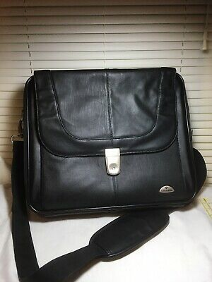 Samsonite Leather Laptop Messenger Briefcase Black, Smart Sleeve, Brushed Nickel