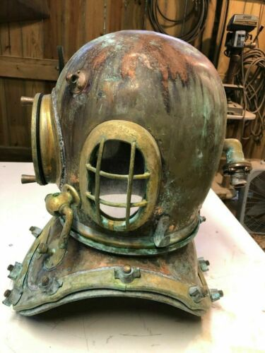 Copper Brass Boston Morse Morse US Navy Mark V Diving Divers Helmet Antique 18""