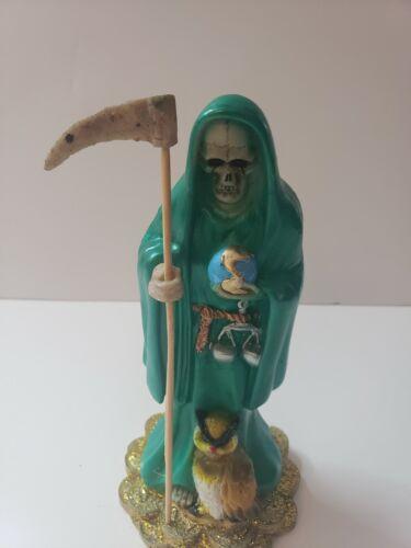 "SANTA MUERTE COLOR GREEN 8"" HOLY DEATH STATUE/ GRIM REAPER / BESTIDA /BENDESIDAD"