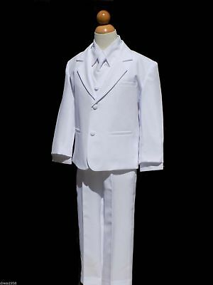 Boys Baptism, Ring Bearer, Recital Tuxedo Suit, White, Size Small  to 14 (Ring Bearer Suit)