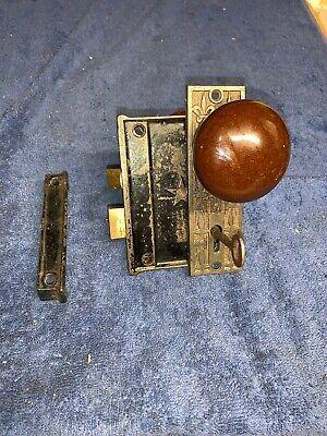 Antique Vintage Rim Lock,Keeper,Key, Knobs & m&w Eastlake Backplate (Lock Keeper)