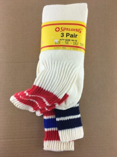 3 Pairs Vintage Spalding Striped Over Calf Tube Cotton Socks Sports Size 10-13