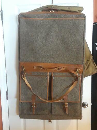 Vintage Hartmann Tweed/Leather Hanging Garment Bag With Box - $65.00
