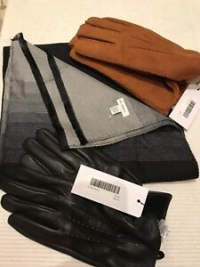Brand new - Men's silk scarf and leather gloves