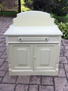 Antique Washstand/ Bar Cabinet - painted in cream chalk paint