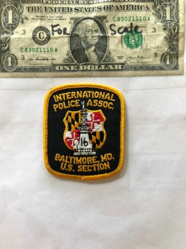 Very Rare Baltimore Maryland Police Patch (International Police Assoc) un-sewn
