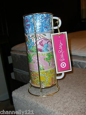 Lilly Pulitzer For Target Ceramic Coffee Mug Expresso Cup Set BNWT (4) & Caddy
