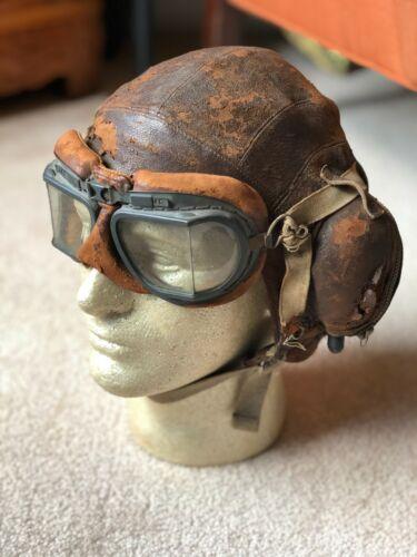 Original British WWII RAF Type B Flying Helmet with MKVIII Flight Goggles