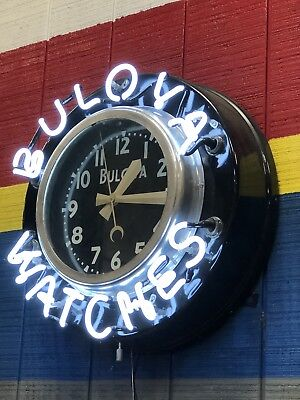 1940s Vintage Bulova Neon Indoor Jewery Store Wall Clock