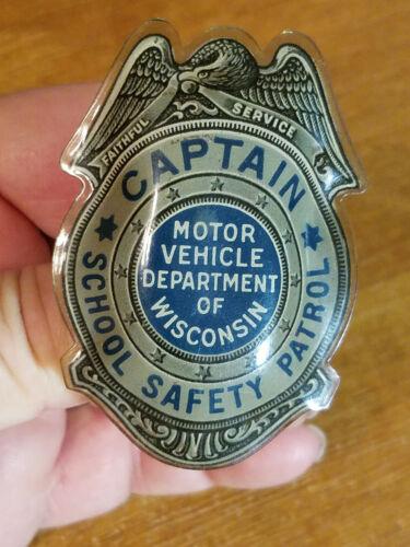 Obolete 1940's Wisconsin Motor Vehicle Dept. School Safety Patrol, Captain Badge