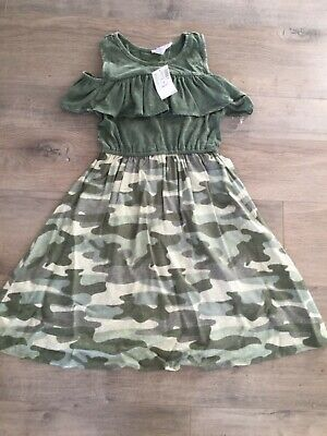 Cute Army Clothes (NWT 2018 Super Cute Justice Army Green Camouflaged Bare Shoulder Dress sz  6-7)