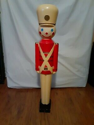 "Vintage 32"" Hard Plastic Boy Toy Soldier Blow Mold Light Figure Christmas"