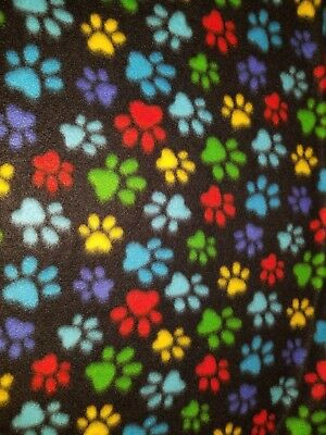 64X58 PERSONALIZE 2 LAYER DOG PUPPY PAW PRINTS MULTICOLOR ON NAVY FLEECE BLANKET