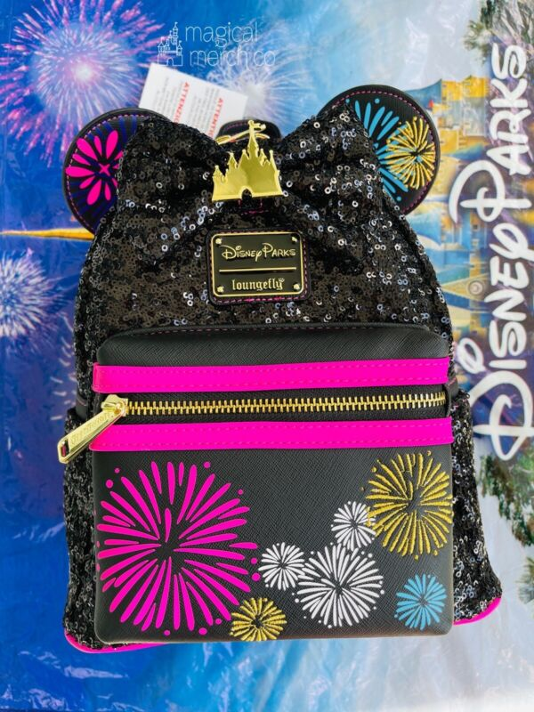 Disney Parks Minnie Mouse Main Attraction Fireworks & Castle Loungefly Backpack
