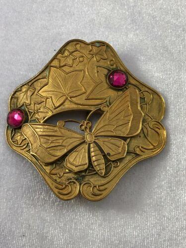 Antique Late Victorian Era Brass Butterfly Leaf Dark Pink Stone Sash Pin