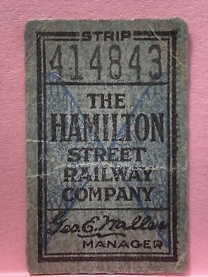 Vintage Tickets. The Hamilton Street Railway Company Ticket 6 F B01 P3