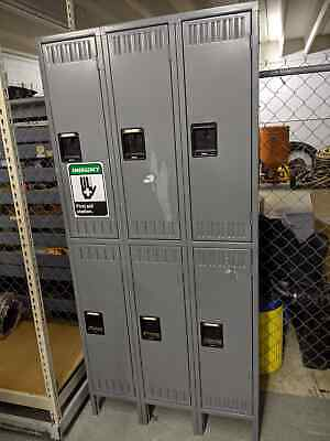 Tennsco Storage 6-compartment School Gym Work Double Tier Lockers Metal Cubbies