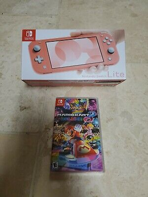 Nintendo Switch Lite Coral Color New in Box + mario kart 8 Game Fast Shipping
