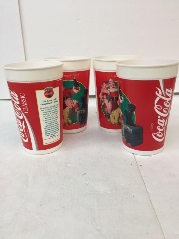 Lot Of 4 Vintage Plastic Cup Coca Cola 1995 Christmas Sundblom Santa